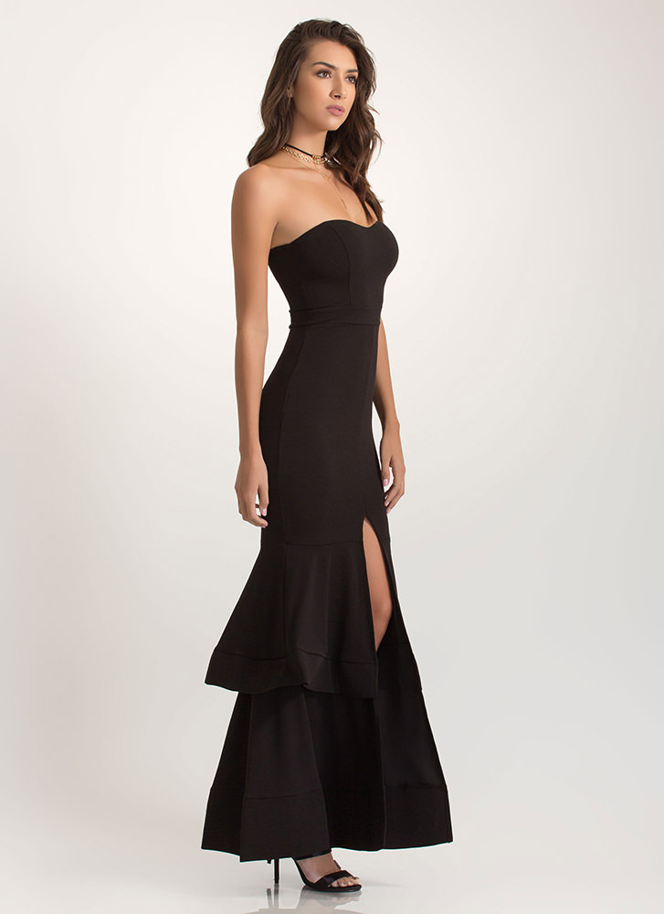 Brought To Tiers Strapless Mermaid Maxi BLACK