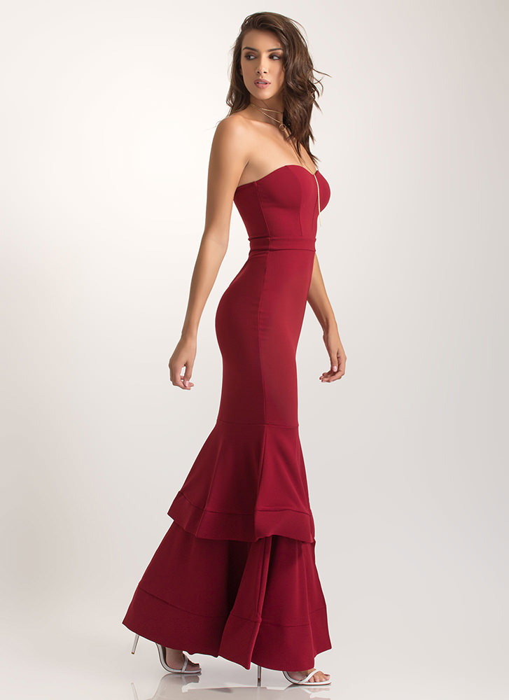 Brought To Tiers Strapless Mermaid Maxi BURGUNDY