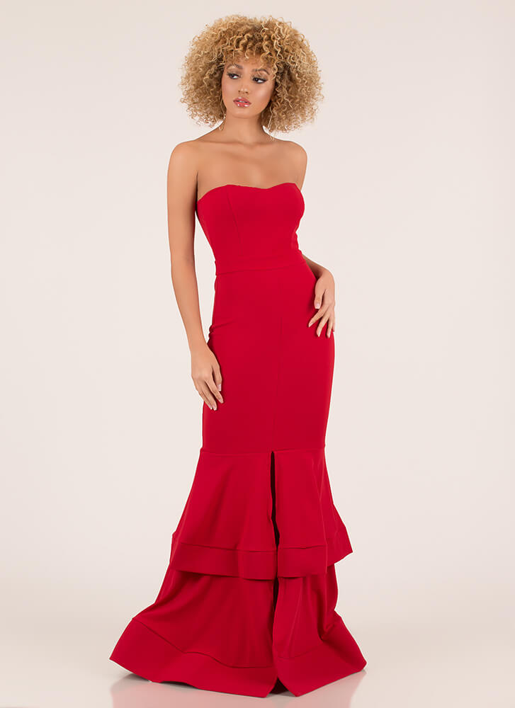 Brought To Tiers Strapless Mermaid Maxi TOMATO