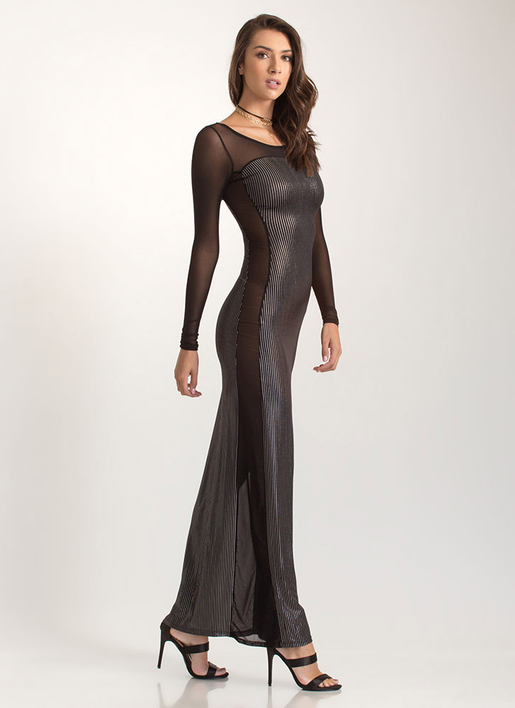 Party Lines Metallic Mesh Inset Maxi SILVER