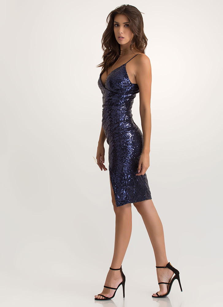 Party Hopper Sequined Surplice Dress NAVY