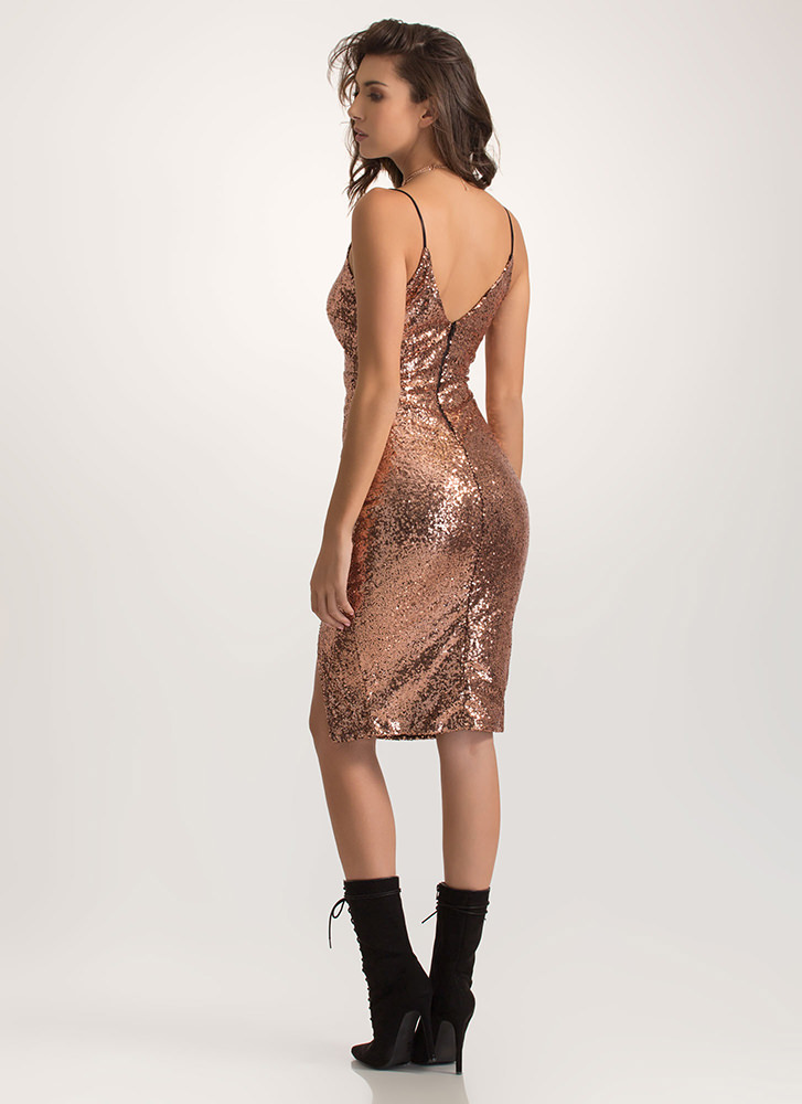 Party Hopper Sequined Surplice Dress ROSEGOLD (Final Sale)