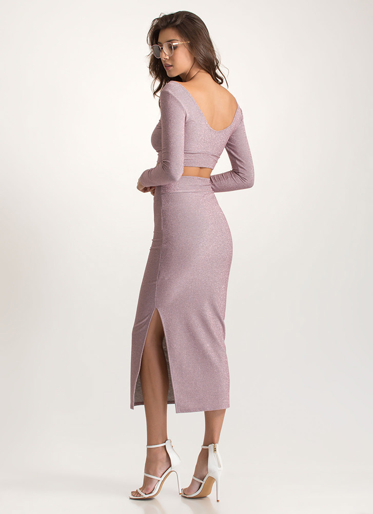 Going For Glitter Top And Skirt Set MAUVE