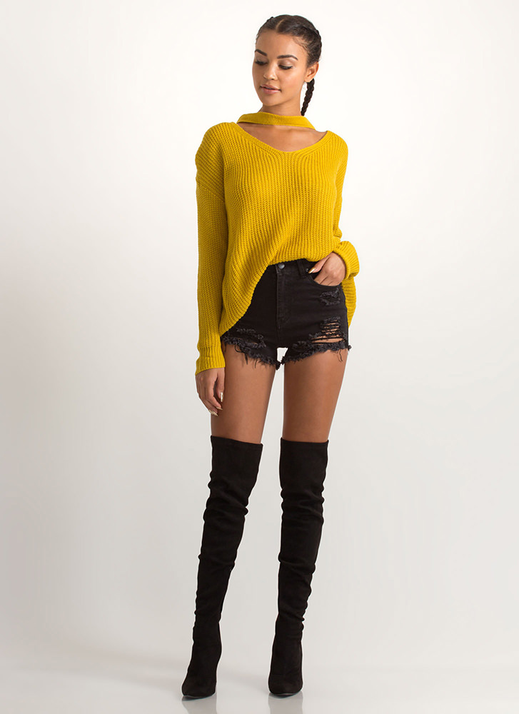 Band Leader Cut-Out Knit Sweater MUSTARD
