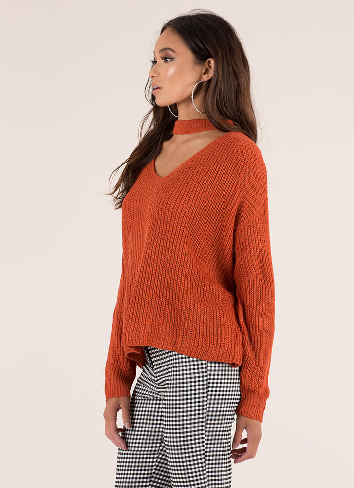 Band Leader Cut-Out Knit Sweater ORANGE