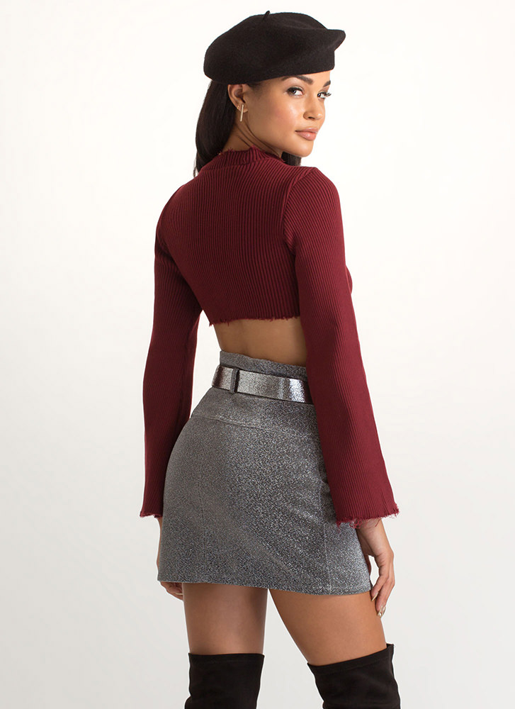 Chest Voice Cropped Cut-Out Sweater BURGUNDY