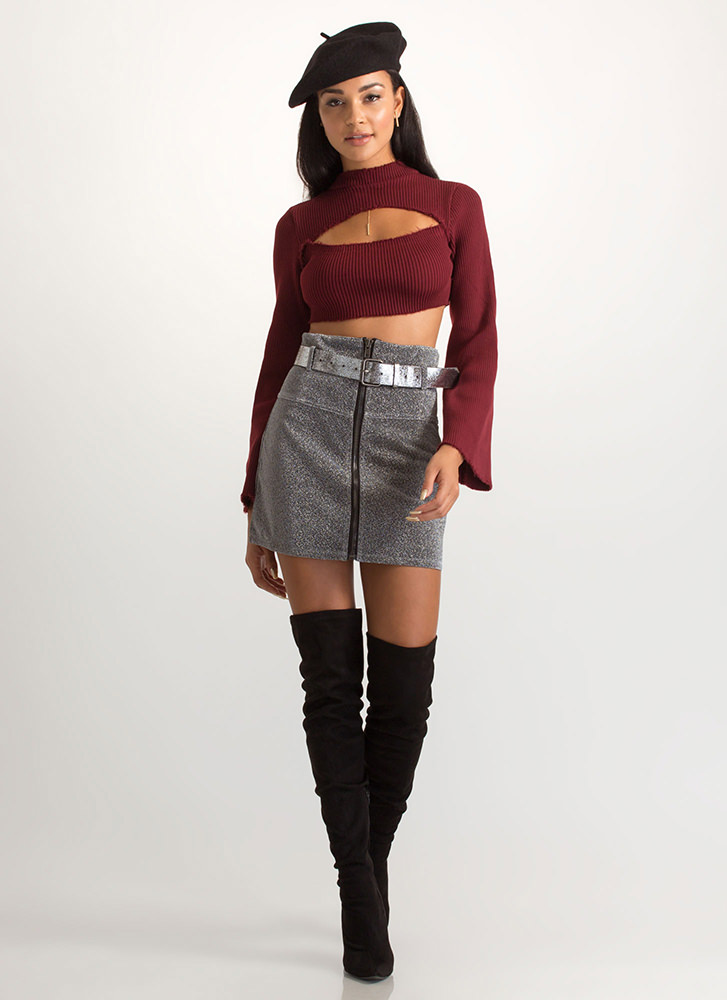 Chest Voice Cropped Cut-Out Sweater BURGUNDY (Final Sale)