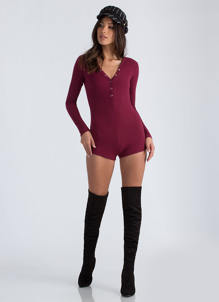 Onesie And Done Snap Button Romper BURGUNDY