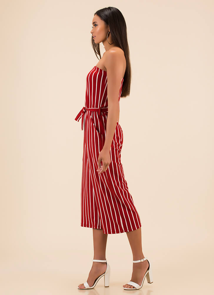 Empire Stripes Back Palazzo Jumpsuit RED (Final Sale)