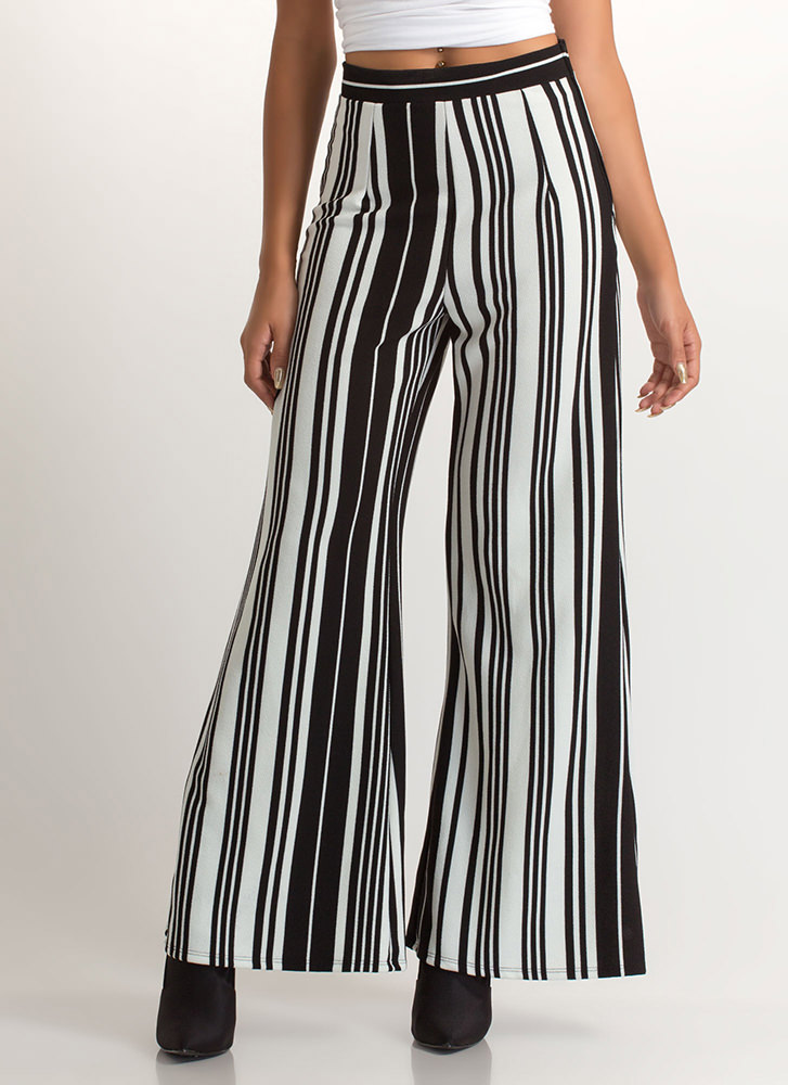 In Alignment Striped Palazzo Pants BLACKWHITE