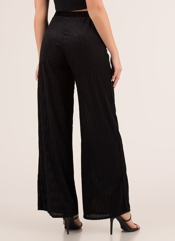 So Special Striped Velvet Palazzo Pants BLACK (Final Sale)