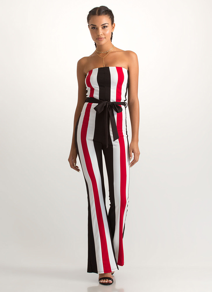 Get In Line Strapless Striped Jumpsuit BLACK