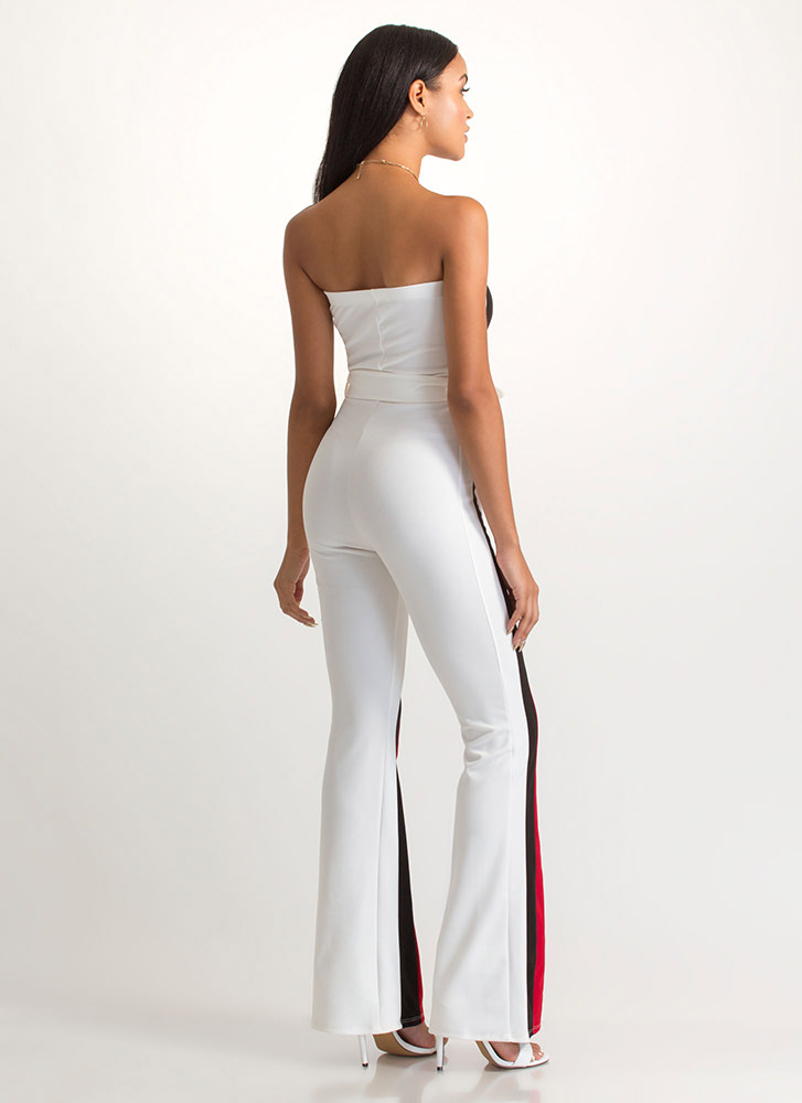 Get In Line Strapless Striped Jumpsuit WHITE