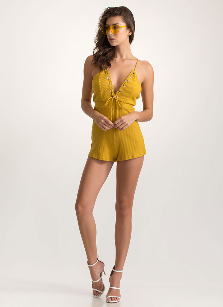 Grommet Girl Plunging Laced Romper MUSTARD