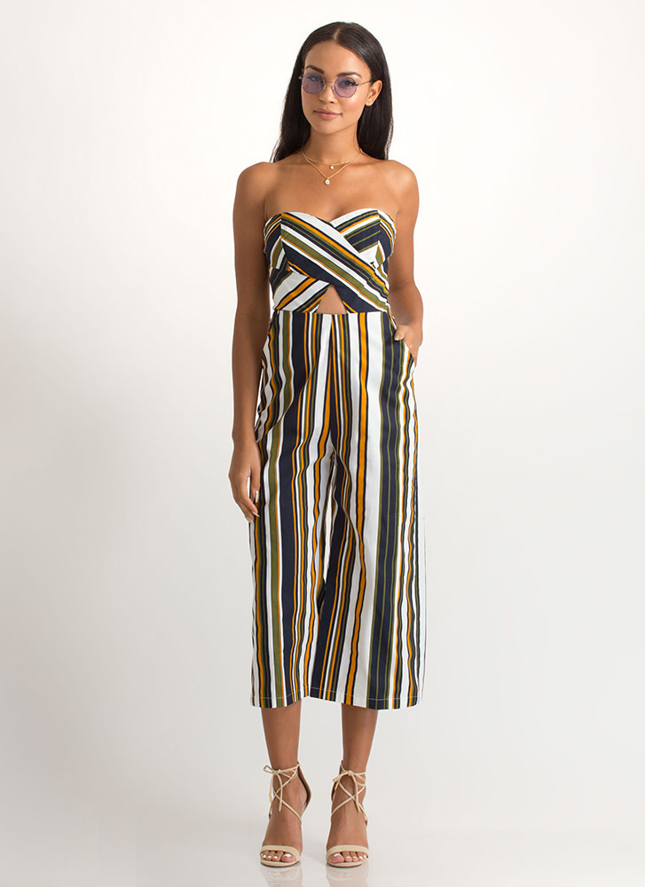 Soho Stripes Strapless Palazzo Jumpsuit MULTI