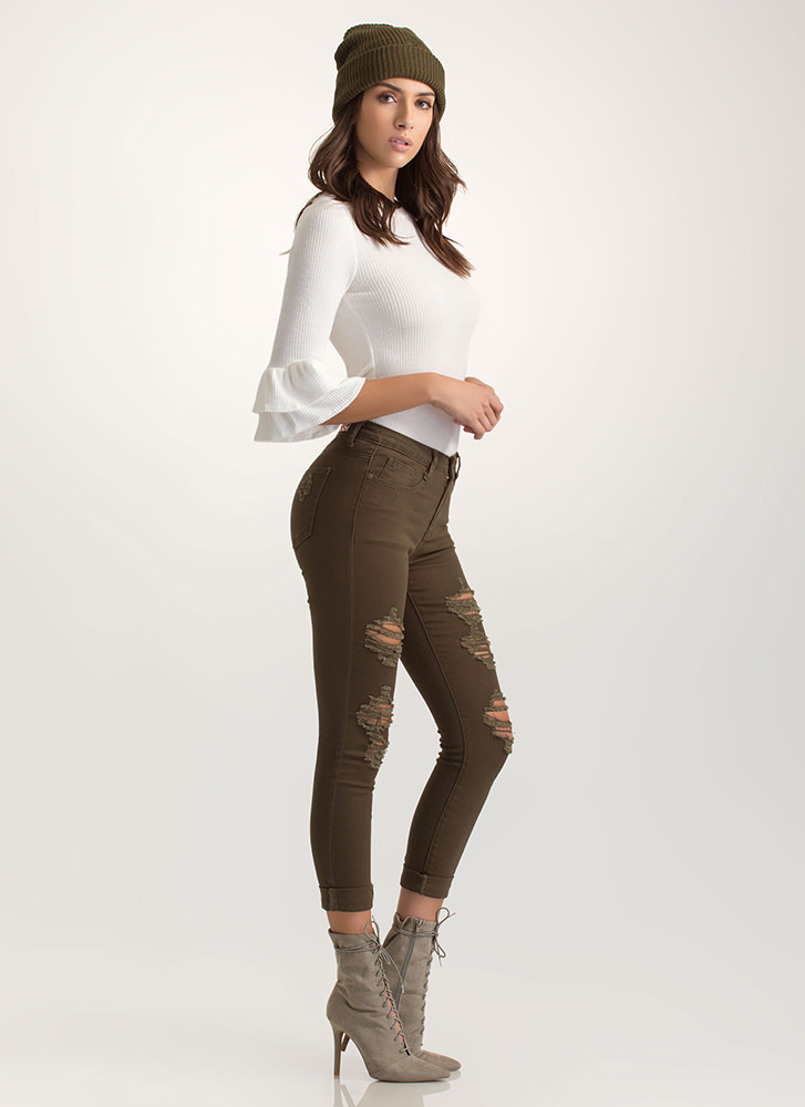 Easy To Be Distressed Jeggings OLIVE