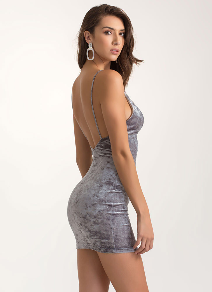 Out Of This Galaxy Crushed Velvet Dress GREY