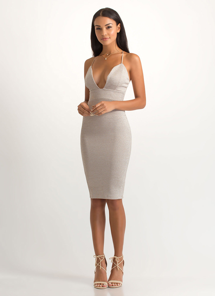 Special Shimmer Plunging Midi Dress GOLD
