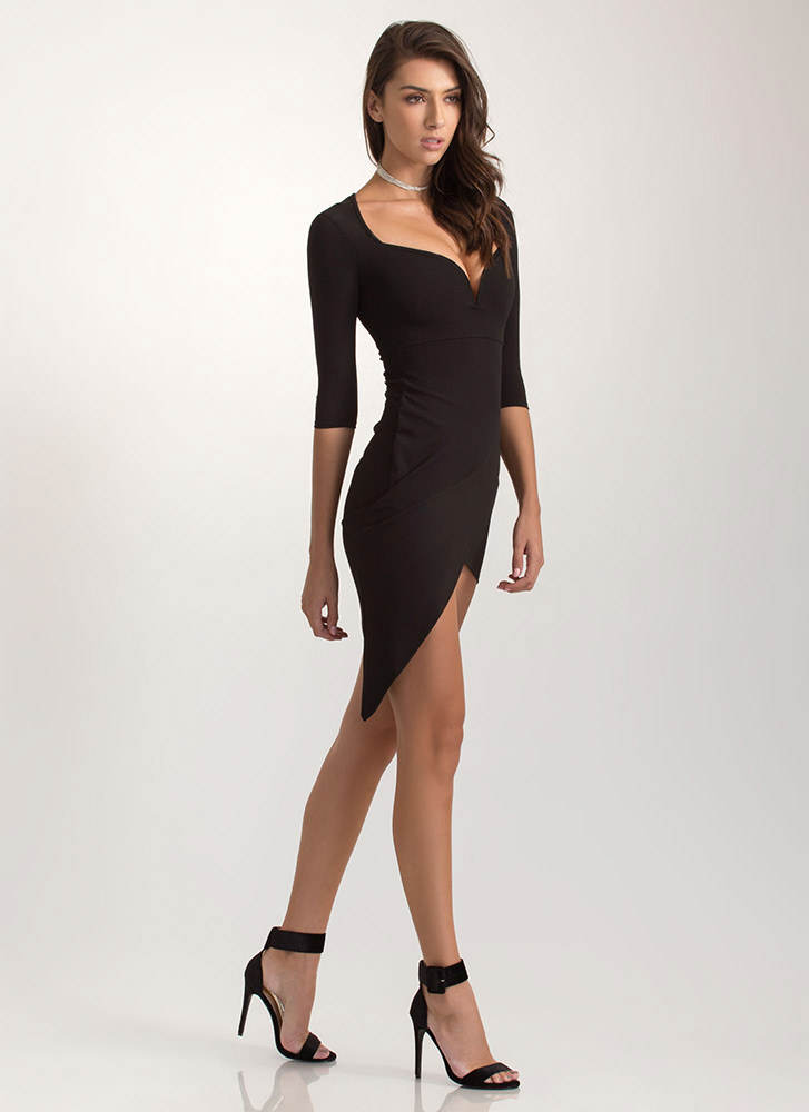 Perfect Fit Plunging Asymmetrical Dress BLACK