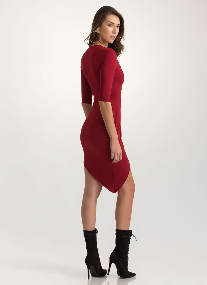 Perfect Fit Plunging Asymmetrical Dress BURGUNDY