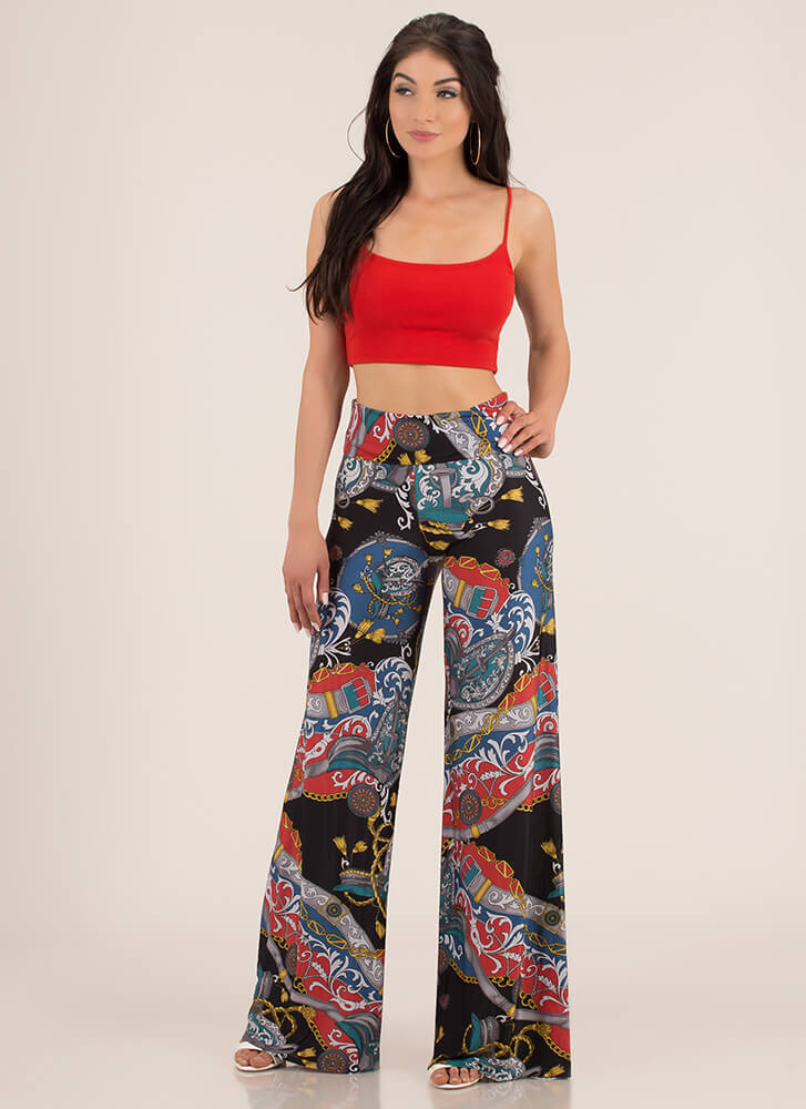 Roped In Swirly Print Palazzo Pants BLACK