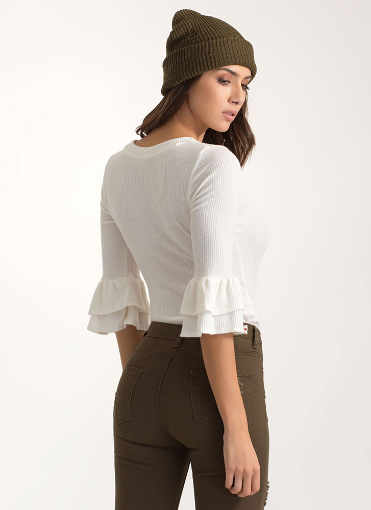 Tier You On Rib Knit Ruffled Sleeve Top WHITE