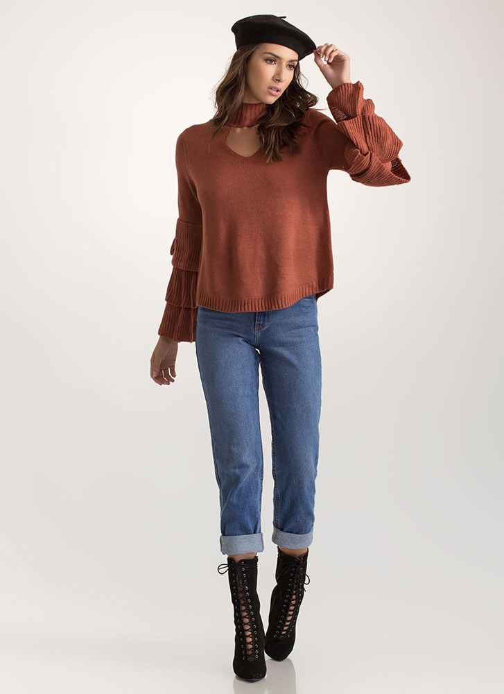 You're Tiering Up Ruffle Sleeve Sweater RUST