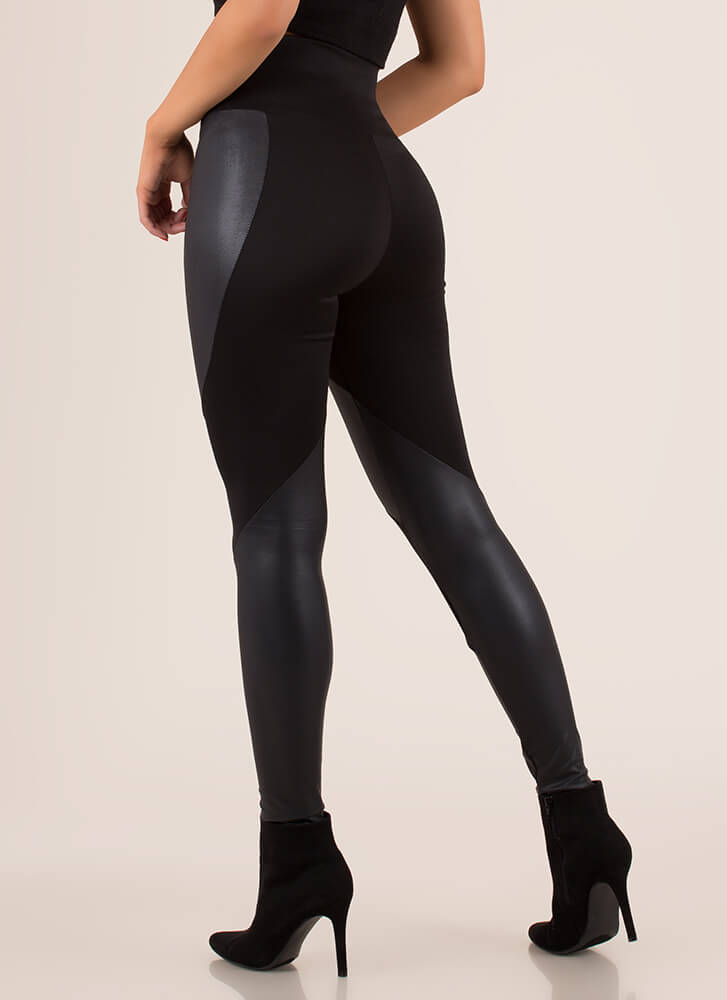 Moto Contrast High-Waisted Leggings BLACK (Final Sale)