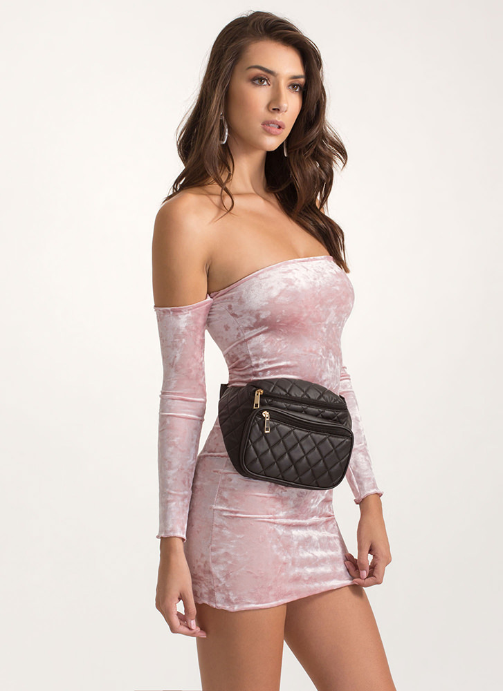 Second Skin Velvet Off-Shoulder Dress MAUVE