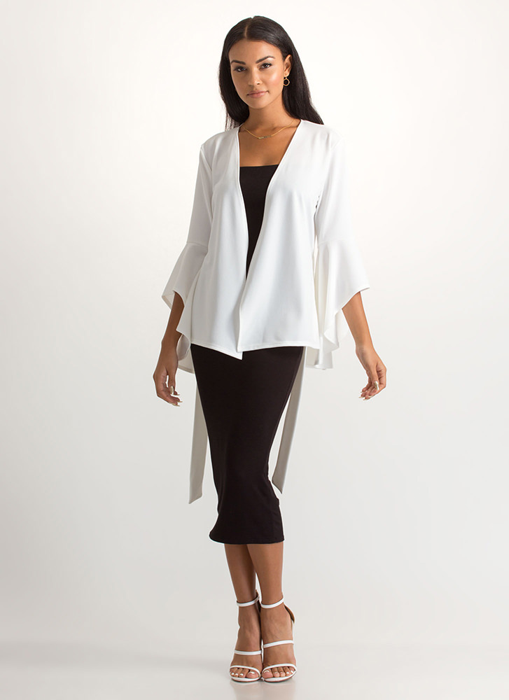 Wrap Superstar Tied Bell Sleeve Jacket IVORY