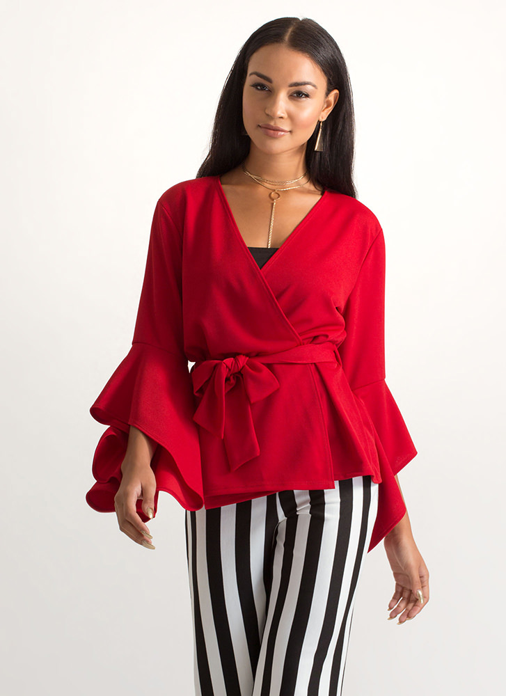 Wrap Superstar Tied Bell Sleeve Jacket RED