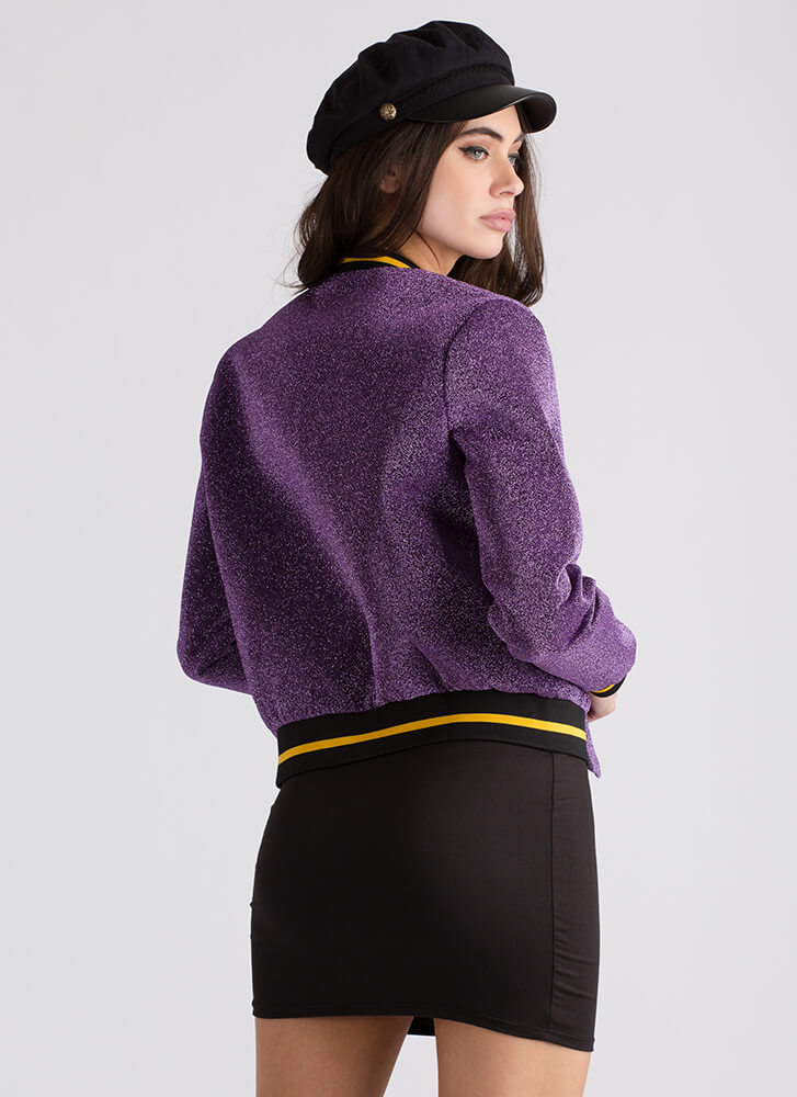 Glitz The Best Glittery Bomber Jacket PURPLE