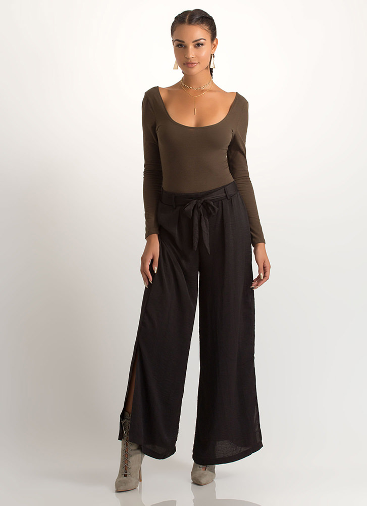 Go With The Flow Tied Palazzo Pants BLACK