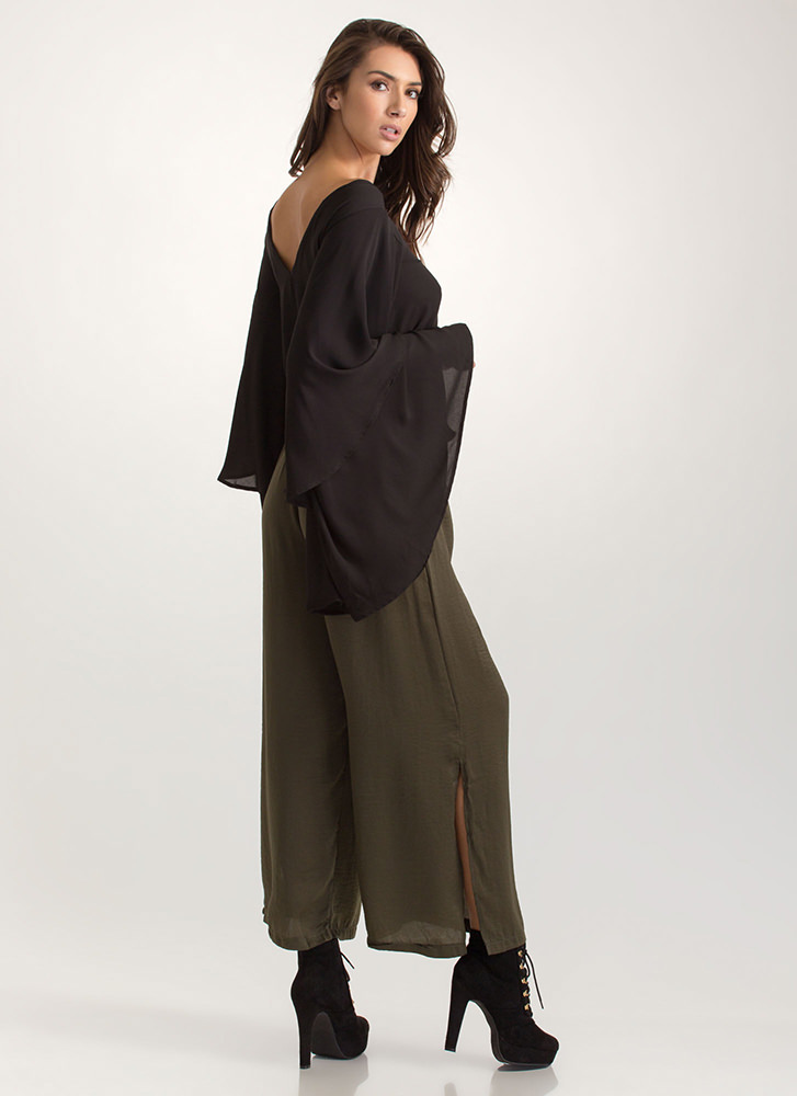 Go With The Flow Tied Palazzo Pants OLIVE