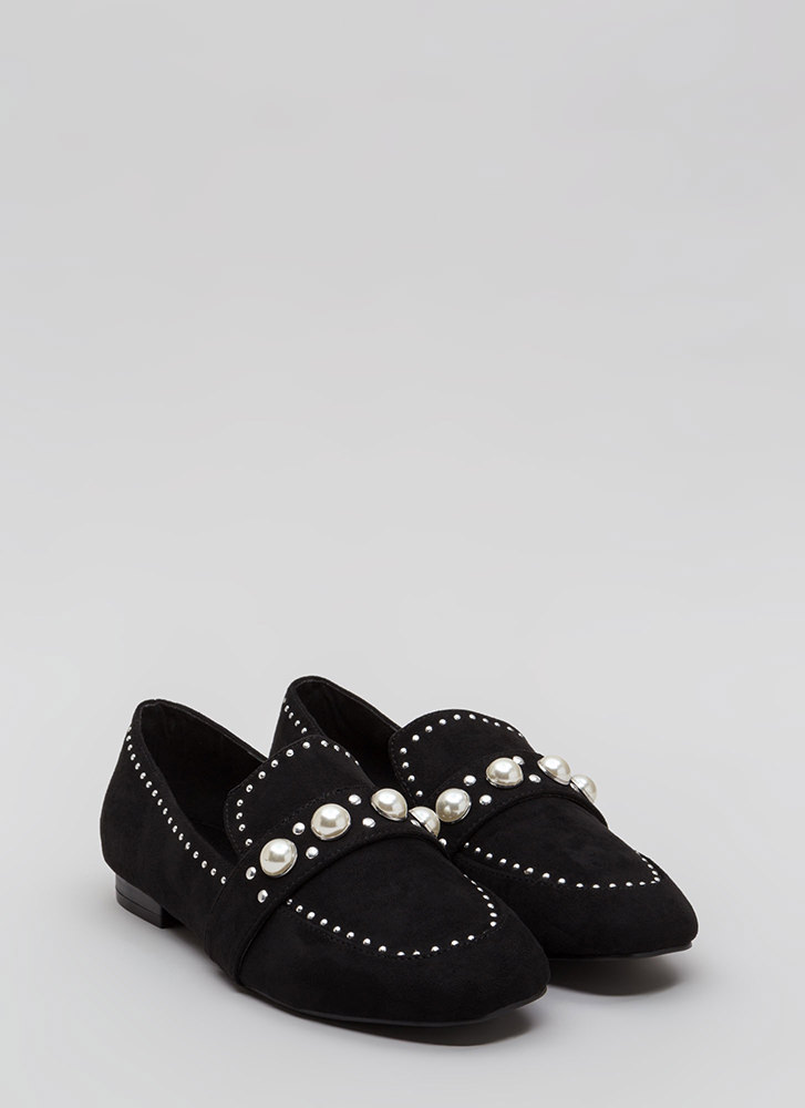 Pearl Interrupted Studded Loafer Flats BLACK