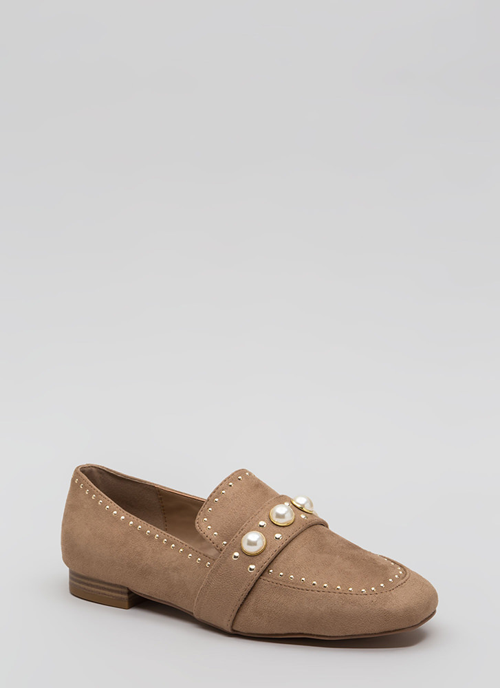 Pearl Interrupted Studded Loafer Flats TAUPE