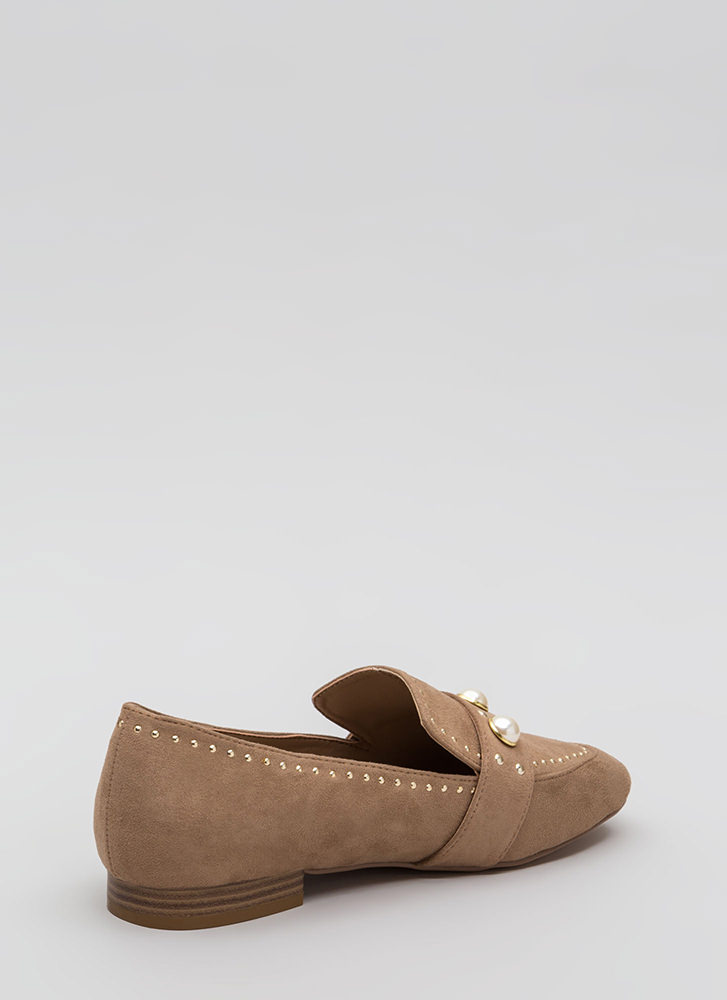 Pearl Interrupted Studded Loafer Flats TAUPE (Final Sale)