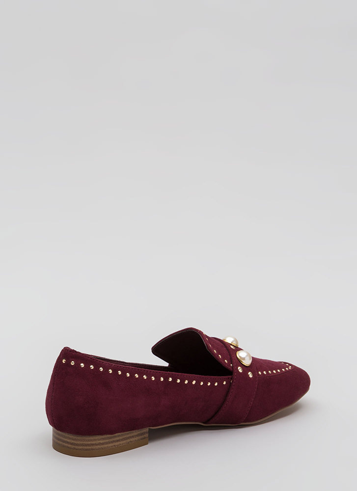 Pearl Interrupted Studded Loafer Flats WINE