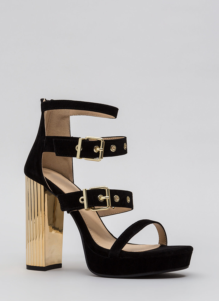 Pillar Instinct Chunky Strappy Platforms BLACK