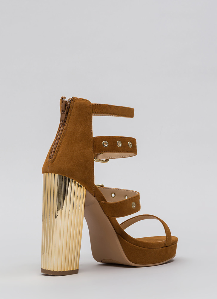 Pillar Instinct Chunky Strappy Platforms CHESTNUT