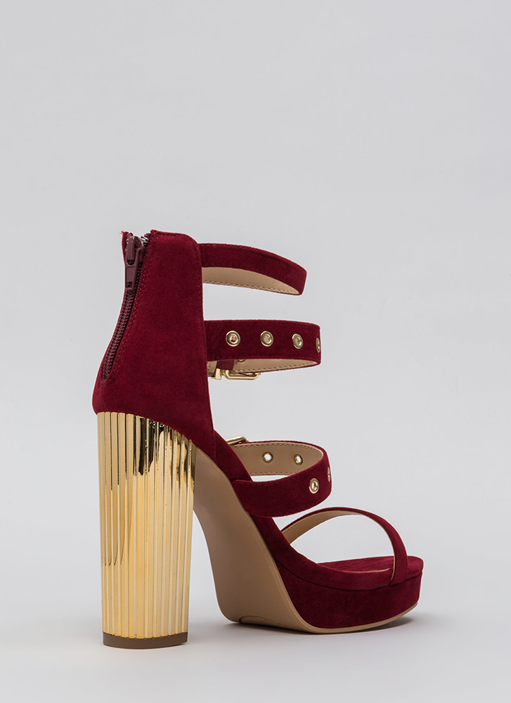 Pillar Instinct Chunky Strappy Platforms WINE