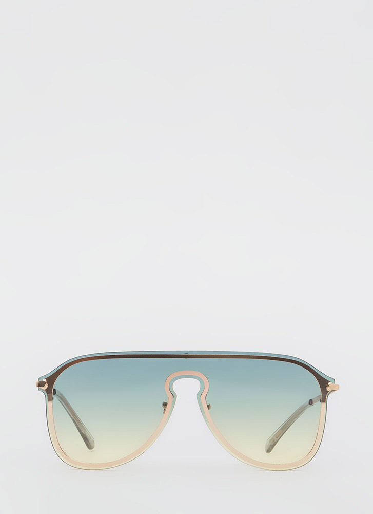 Rounding Out Aviator Sunglasses GREEN