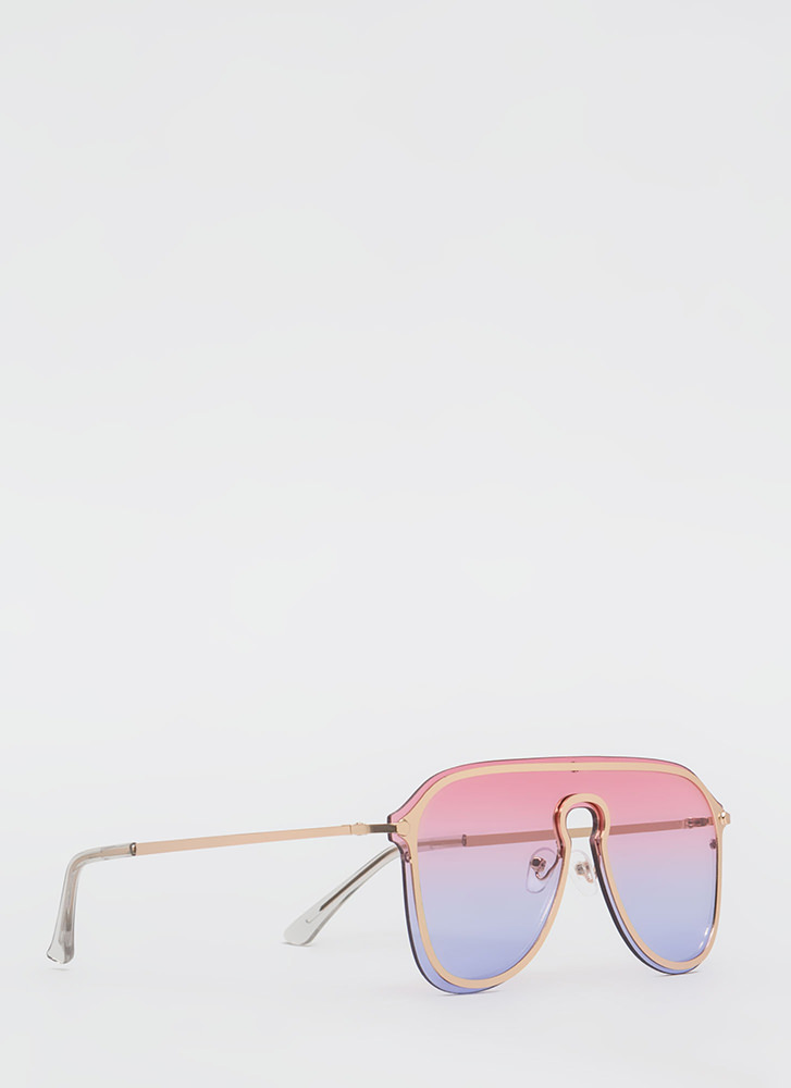Rounding Out Aviator Sunglasses PINK