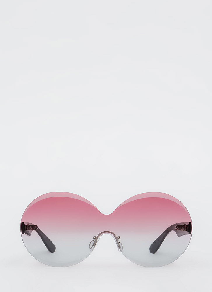 Bevel Up Round Frameless Sunglasses PINK