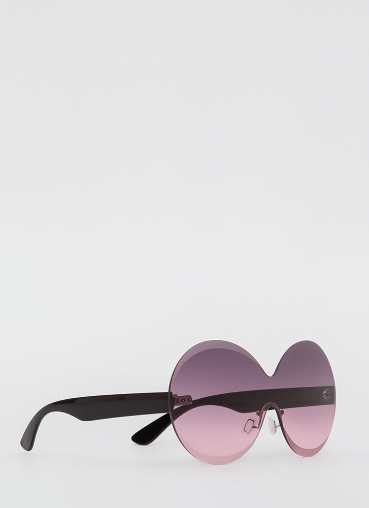 Bevel Up Round Frameless Sunglasses PLUM