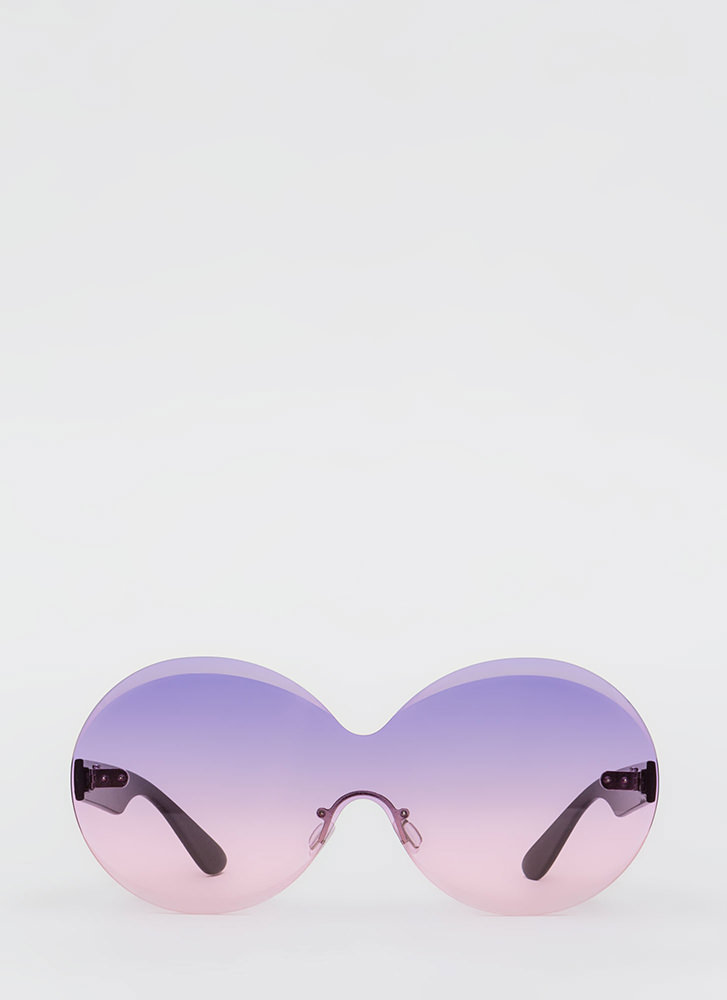 Bevel Up Round Frameless Sunglasses PURPLE