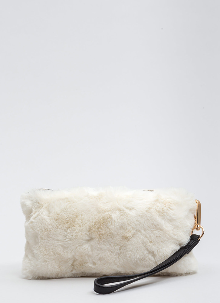 You've Got A Soft Touch Faux Fur Clutch WHITE