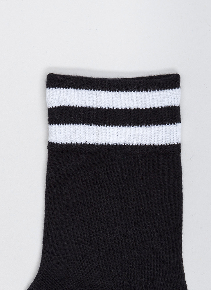 Make Varsity Striped Ankle Socks BLACK