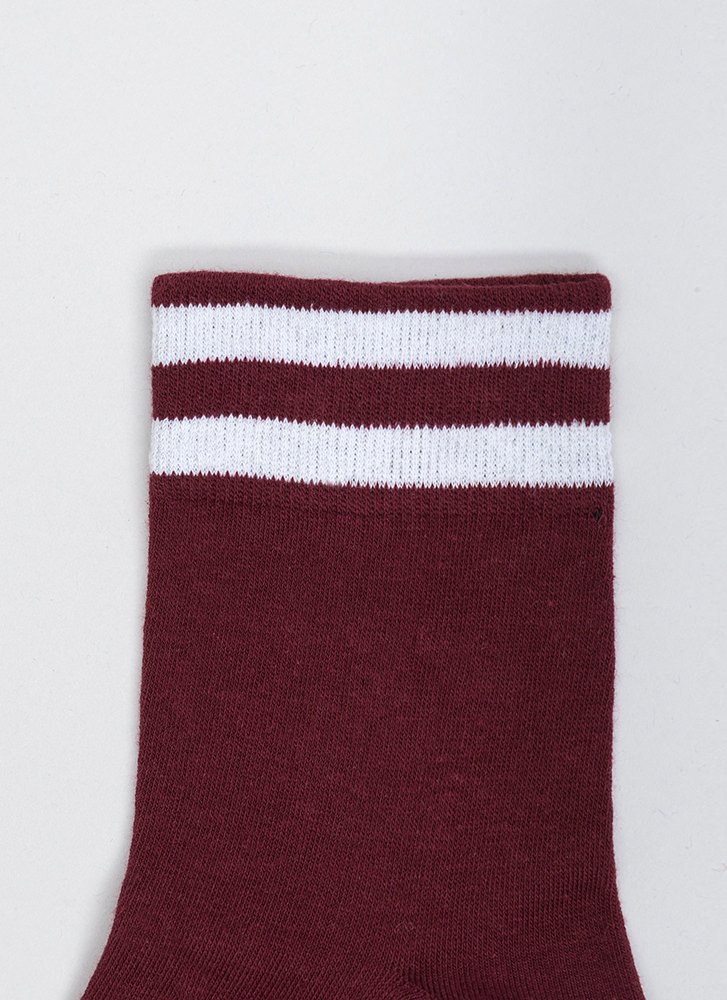 Make Varsity Striped Ankle Socks BURGUNDY