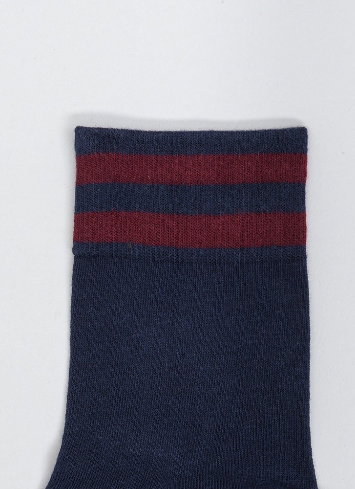 Make Varsity Striped Ankle Socks NAVY